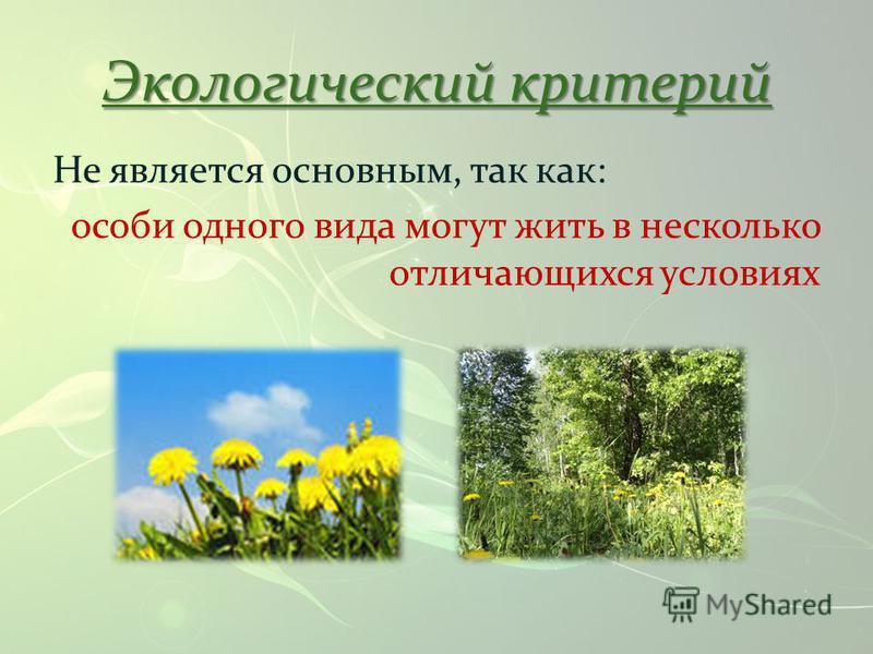 Не является основным, так как: особи одного вида могут жить в несколько отличающихся условиях Экологический критерий