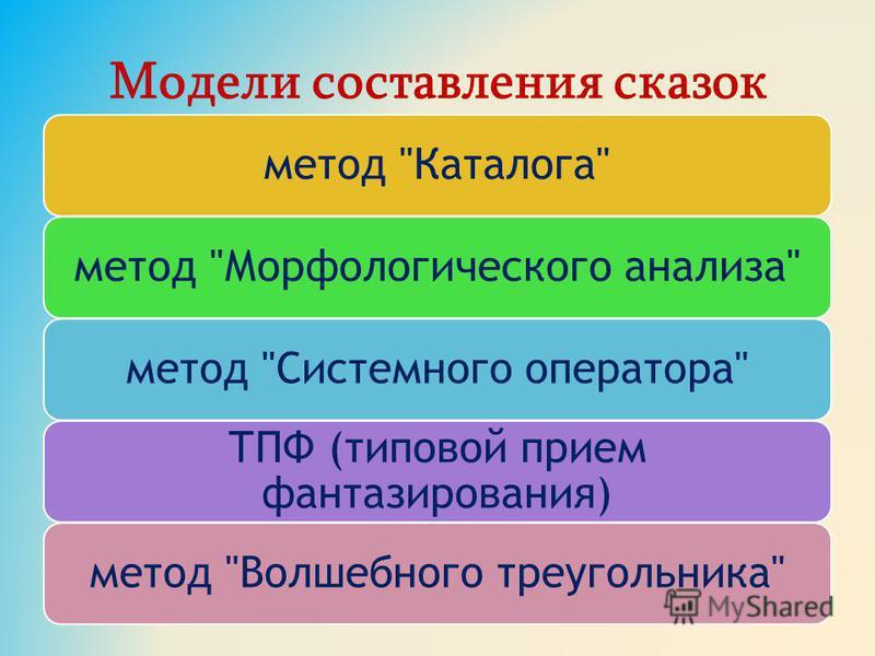 Модели составления сказок метод Каталогаметод Морфологического анализаметод Системного оператора ТПФ (типовой прием фантазирования) метод Волшебного треугольника