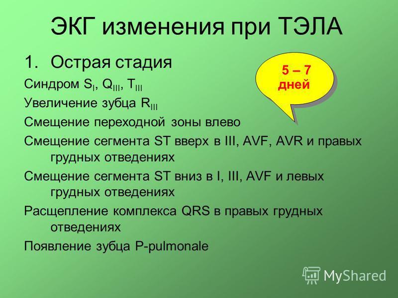 ЭКГ изменения при ТЭЛА 1. Острая стадия Синдром S I, Q III, T III Увеличение зубца R III Смещение переходной зоны влево Смещение сегмента ST вверх в III, AVF, AVR и правых грудных отведениях Смещение сегмента ST вниз в I, III, AVF и левых грудных отв