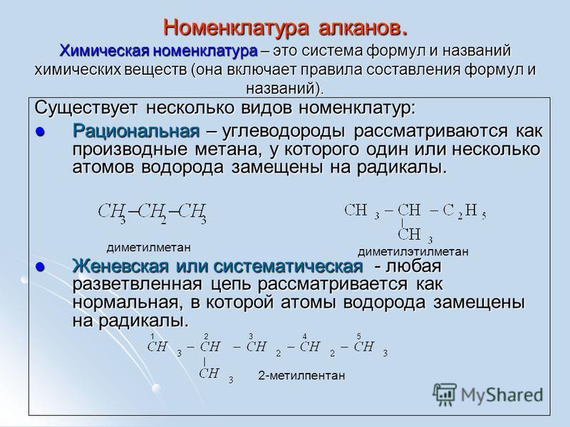 Номенклатура алканов. Химическая номенклатура – это система формул и названий химических веществ (она включает правила составления формул и названий). Существует несколько видов номенклатур: Рациональная – углеводороды рассматриваются как производные