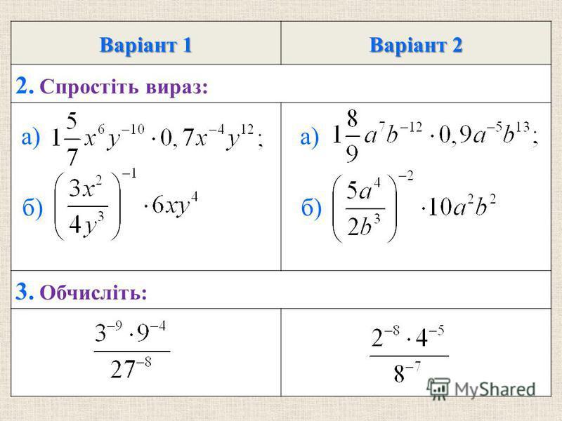 Варiант 1 Варiант 2 2. Спростiть вираз: 3. Обчисліть: а) б) а) б)