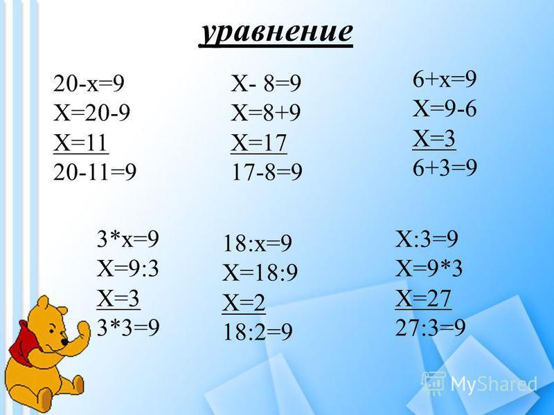уравнение 20-х=9 Х=20-9 Х=11 20-11=9 Х- 8=9 Х=8+9 Х=17 17-8=9 6+х=9 Х=9-6 Х=3 6+3=9 3*х=9 Х=9:3 Х=3 3*3=9 18:х=9 Х=18:9 Х=2 18:2=9 Х:3=9 Х=9*3 Х=27 27:3=9