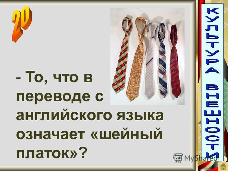 - То, что в переводе с английского языка означает «шейный платок»?