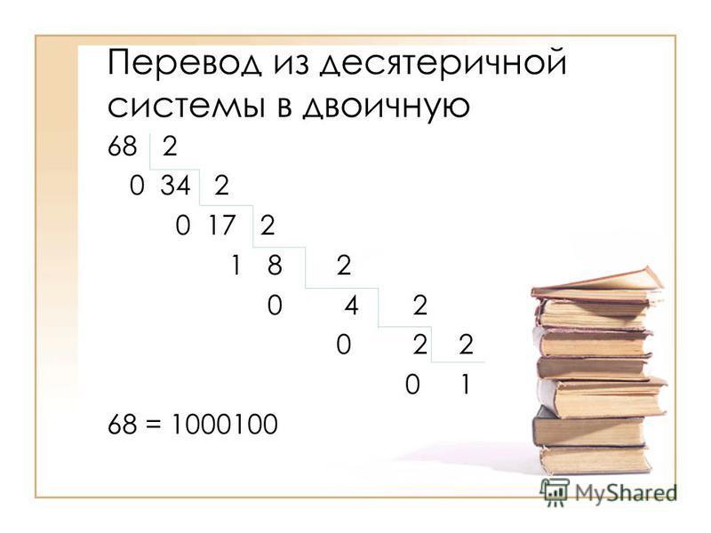 Перевод из десятеричной системы в двоичную 68 2 0 34 2 0 17 2 1 8 2 0 4 2 0 2 2 0 1 68 = 1000100