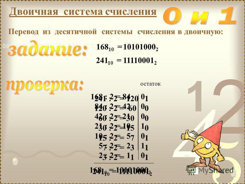 Двоичная система счисления Перевод из десятичной системы счисления в двоичную: 168 10 = 241 10 = 168 : 2 = 84 0 84 : 2 = 42 0 42 : 2 = 21 0 21 : 2 = 10 1 10 : 2 = 5 0 5 : 2 = 2 1 2 : 2 = 1 0 остаток 168 10 = 10101000 2 10101000 2 11110001 2 241 : 2 =
