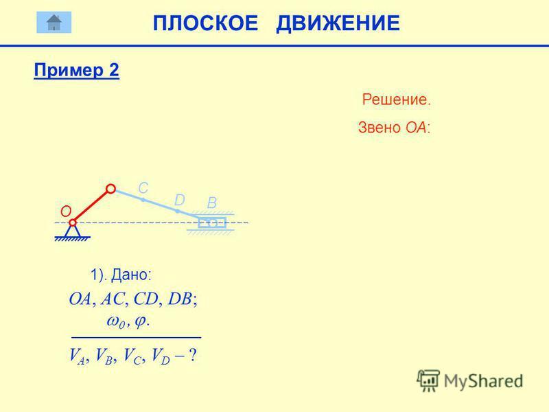 D B C 1). Дано: ОА, AC, CD, DB; V A, V B, V C, V D – ? Решение. Звено ОА: О ПЛОСКОЕ ДВИЖЕНИЕ,. Пример 2