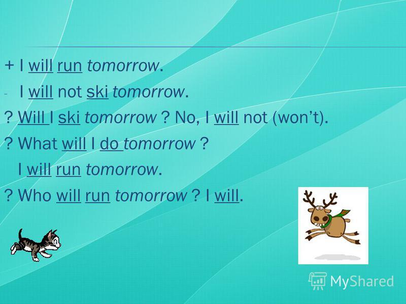 + I will run tomorrow. - I will not ski tomorrow. ? Will I ski tomorrow ? No, I will not (wont). ? What will I do tomorrow ? I will run tomorrow. ? Who will run tomorrow ? I will.