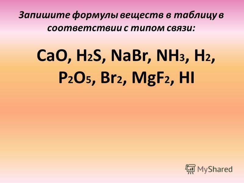 Запишите формулы веществ в таблицу в соответствии с типом связи: CaO, H 2 S, NaBr, NH 3, H 2, P 2 O 5, Br 2, MgF 2, HI