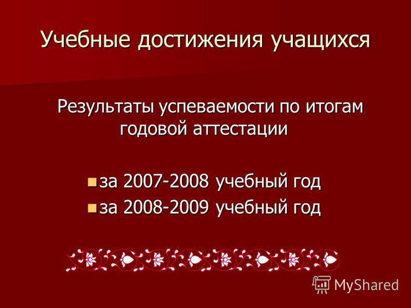 Учебные достижения учащихся Результаты успеваемости по итогам годовой аттестации за 2007-2008 учебный год за 2007-2008 учебный год за 2008-2009 учебный год за 2008-2009 учебный год