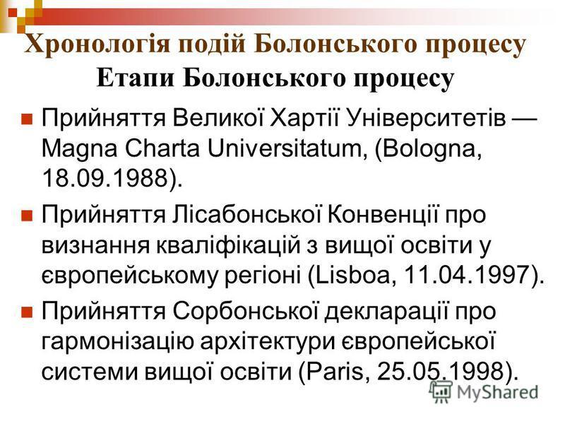 Хронологія подій Болонського процесу Етапи Болонського процесу Прийняття Великої Хартії Університетів Magna Charta Universitatum, (Bologna, 18.09.1988). Прийняття Лісабонської Конвенції про визнання кваліфікацій з вищої освіти у європейському регіоні
