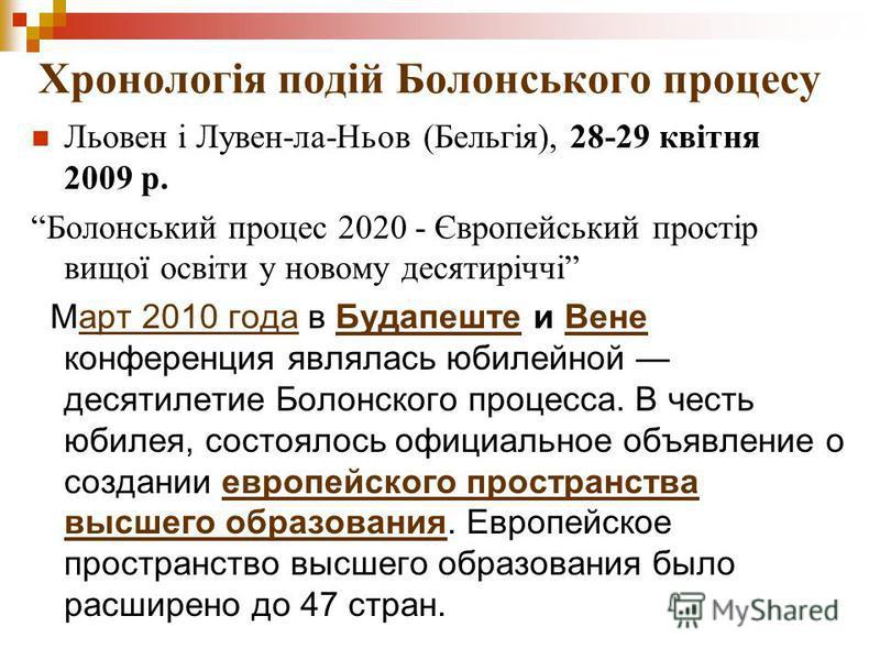Хронологія подій Болонського процесу Льовен і Лувен-ла-Ньов (Бельгія), 28-29 квітня 2009 р. Болонський процес 2020 - Європейський простір вищої освіти у новому десятиріччі Март 2010 года в Будапеште и Вене конференция являлась юбилейной десятилетие Б