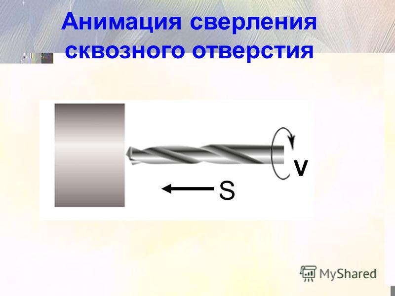S V Анимация сверления сквозного отверстия