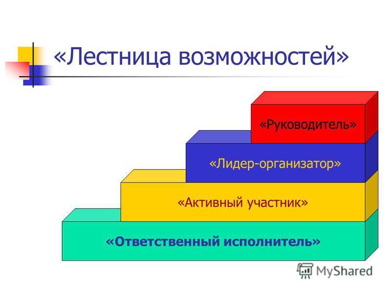 «Лестница возможностей» «Ответственный исполнитель» «Активный участник» «Лидер-организатор» «Руководитель»