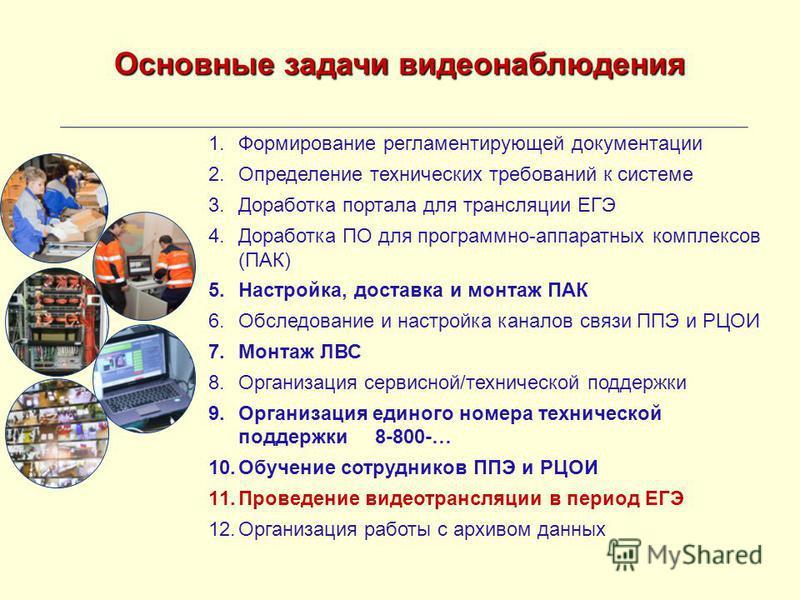 Основные задачи видеонаблюдения 1. Формирование регламентирующей документации 2. Определение технических требований к системе 3. Доработка портала для трансляции ЕГЭ 4. Доработка ПО для программно-аппаратных комплексов (ПАК) 5.Настройка, доставка и м