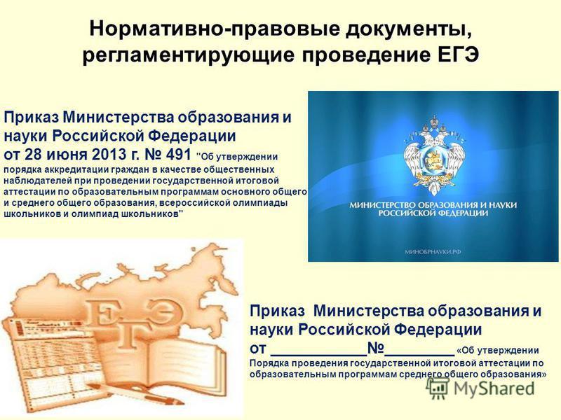 Приказ Министерства образования и науки Российской Федерации от 28 июня 2013 г. 491