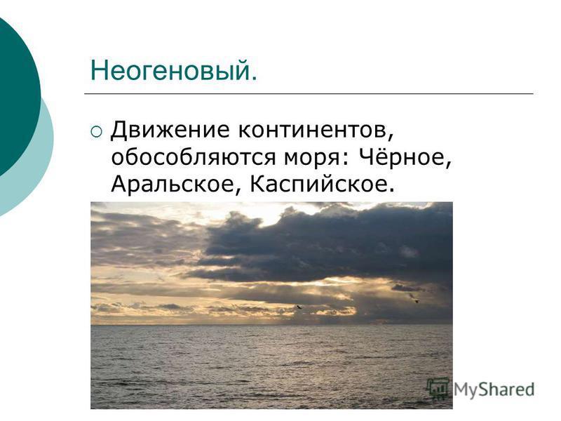 Неогеновый. Движение континентов, обособляются моря: Чёрное, Аральское, Каспийское.