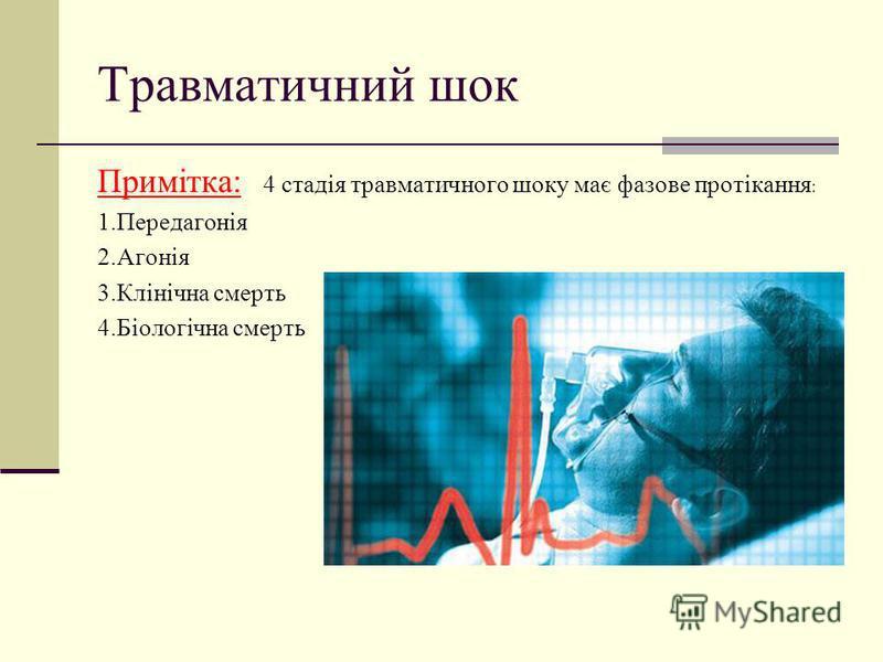 Травматичний шок Примітка: 4 стадія травматичного шоку має фазове протікання : 1.Передагонія 2.Агонія 3.Клінічна смерть 4.Біологічна смерть