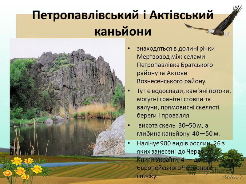 Петропавлівський і Актівський каньйони знаходяться в долині річки Мертвовод між селами Петропавлівка Братського району та Актове Вознесенського району. Тут є водоспади, камяні потоки, могутні гранітні стовпи та валуни, прямовисні скелясті береги і пр