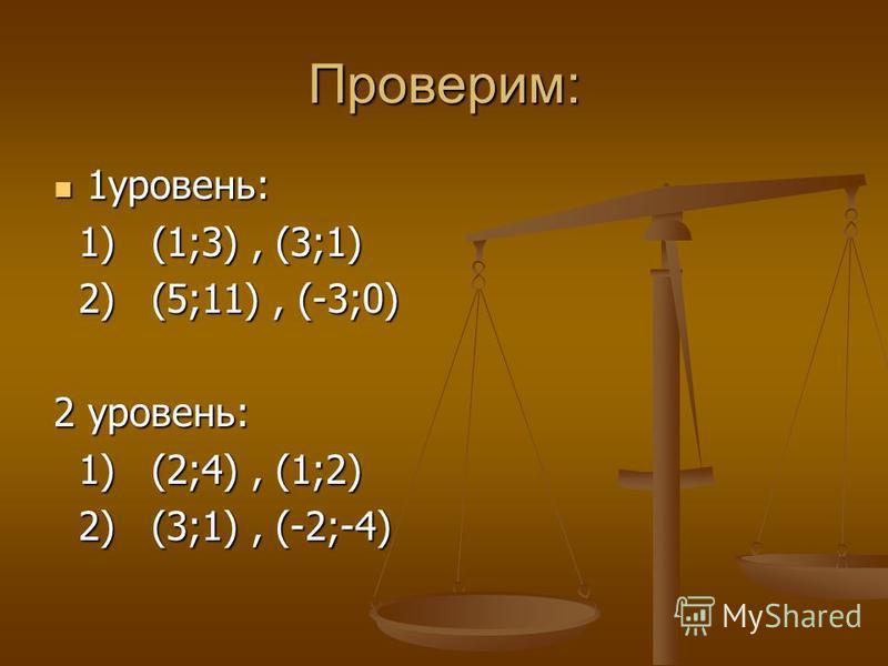 Проверим: 1 уровень: 1 уровень: 1) (1;3), (3;1) 1) (1;3), (3;1) 2) (5;11), (-3;0) 2) (5;11), (-3;0) 2 уровень: 1) (2;4), (1;2) 1) (2;4), (1;2) 2) (3;1), (-2;-4) 2) (3;1), (-2;-4)