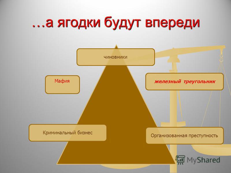 …а ягодки будут впереди чиновники Криминальный бизнес Организованная преступностьжелезный треугольник Мафия