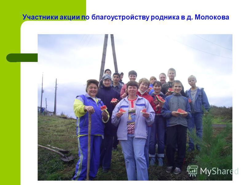 Участники акции по благоустройству родника в д. Молокова