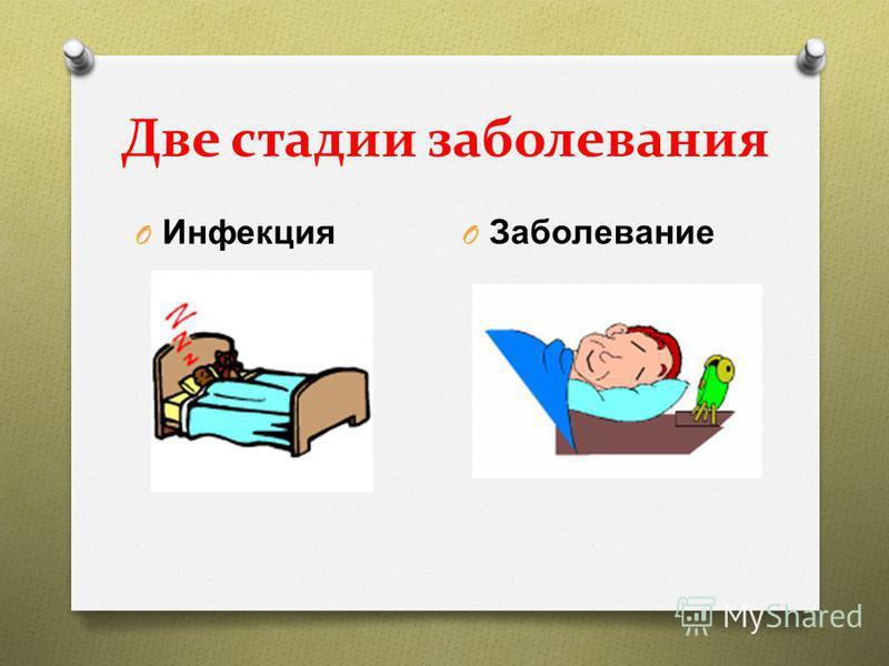 Две стадии заболевания O Инфекция O Заболевание