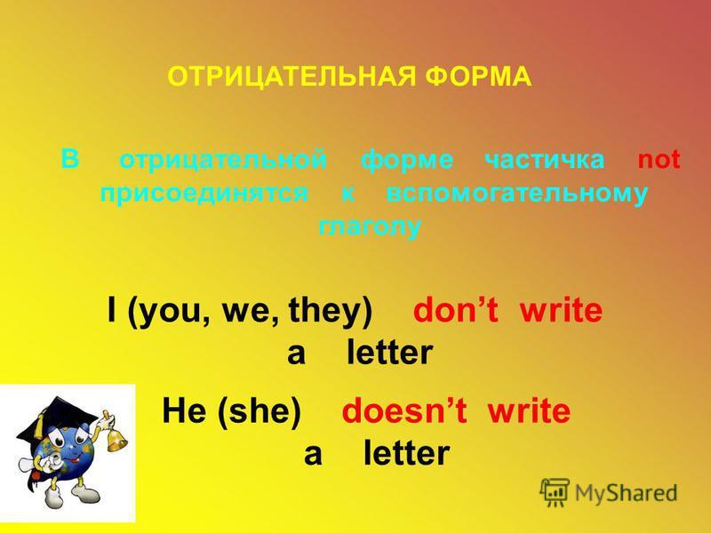 ОТРИЦАТЕЛЬНАЯ ФОРМА В отрицательной форме частичка not присоединятся к вспомогательному глаголу I (you, we, they) dont write a letter He (she) doesnt write a letter