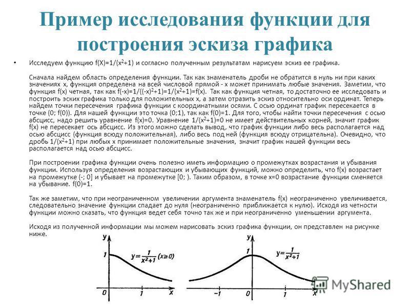 Пример исследования функции для построения эскиза графика Исследуем функцию f(X)=1/(x 2 +1) и согласно полученным результатам нарисуем эскиз ее графика. Сначала найдем область определения функции. Так как знаменатель дроби не обратится в нуль ни при