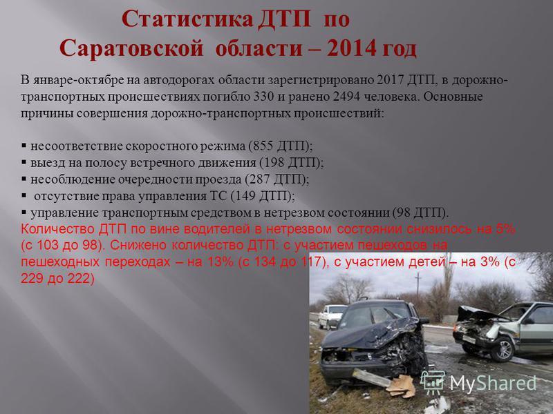 Статистика ДТП по Саратовской области – 2014 год В январе - октябре на автодорогах области зарегистрировано 2017 ДТП, в дорожно - транспортных происшествиях погибло 330 и ранено 2494 человека. Основные причины совершения дорожно - транспортных происш