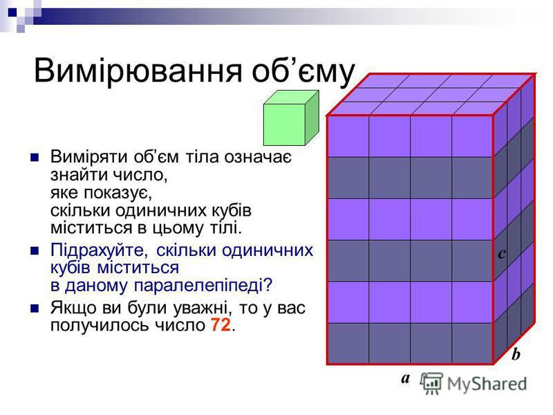 Вимірювання обєму a b c Виміряти обєм тіла означає знайти число, яке показує, скільки одиничних кубів міститься в цьому тілі. Підрахуйте, скільки одиничних кубів міститься в даному паралелепіпеді? Якщо ви були уважні, то у вас получилось число 72.