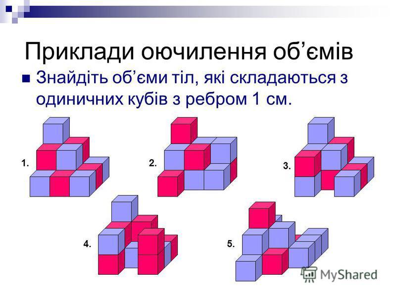 Приклади оючилення обємів Знайдіть обєми тіл, які складаються з одиничних кубів з ребром 1 см. 1.1.2. 3. 4.5.