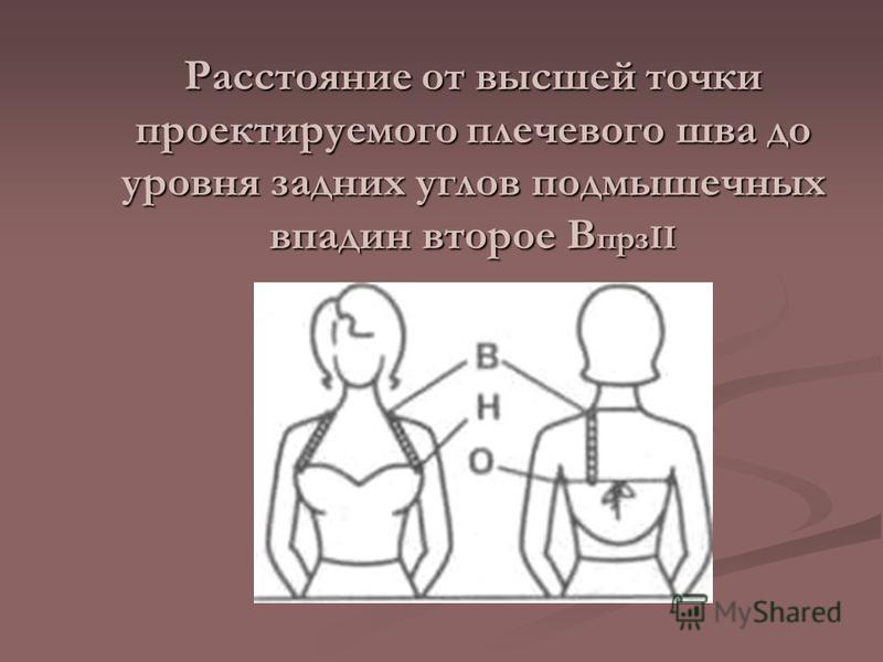 Расстояние от высшей точки проектируемого плечевого шва до уровня задних углов подмышечных впадин второе В прзII