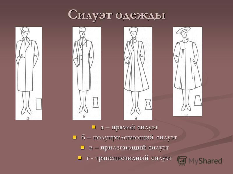 Силуэт одежды а – прямой силуэт б – полуприлегающий силуэт в – прилегающий силуэт г - трапециевидный силуэт