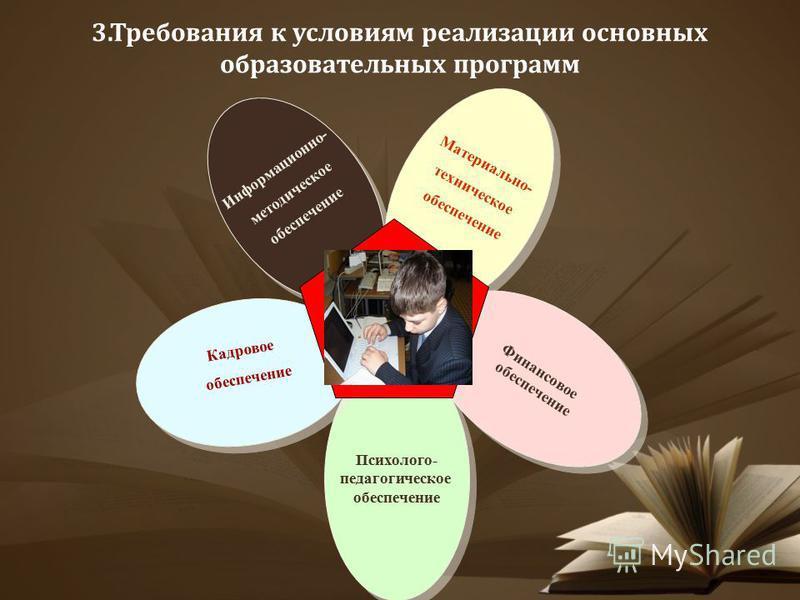 3. Требования к условиям реализации основных образовательных программ Информационно- методическое обеспечение Информационно- методическое обеспечение Материально- техническое обеспечение Материально- техническое обеспечение Финансовое обеспечение Фин