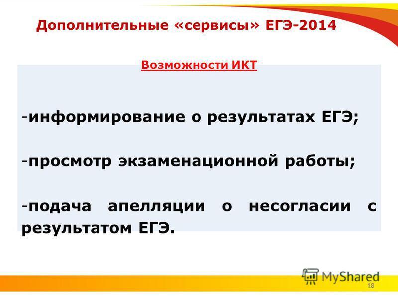 18 Дополнительные «сервисы» ЕГЭ-2014 18 Возможности ИКТ -информирование о результатах ЕГЭ; -просмотр экзаменационной работы; -подача апелляции о несогласии с результатом ЕГЭ.