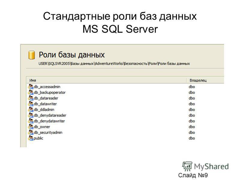 Стандартные роли баз данных MS SQL Server Слайд 9