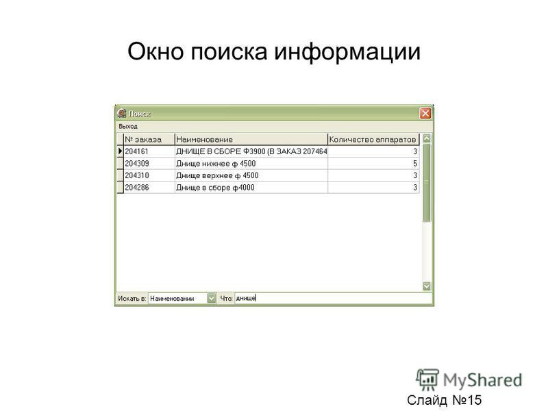 Окно поиска информации Слайд 15