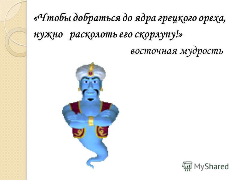 «Чтобы добраться до ядра грецкого ореха, нужно расколоть его скорлупу!» восточная мудрость
