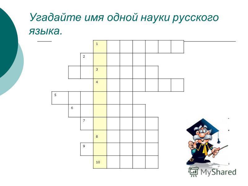 Угадайте имя одной науки русского языка. 1 2 3 4 5 6 7 8 9 10
