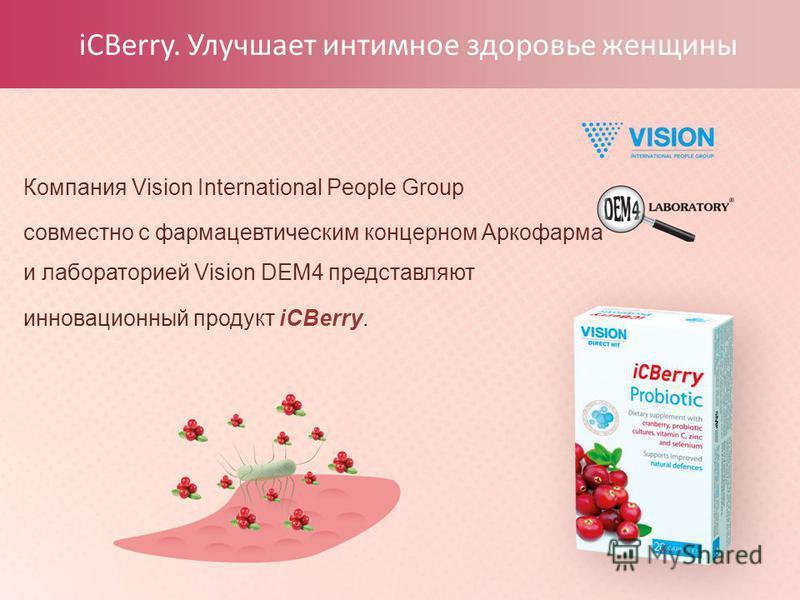 iCBerry. Улучшает интимное здоровье женщины Компания Vision International People Group совместно с фармацевтическим концерном Аркофарма и лабораторией Vision DEM4 представляют инновационный продукт iCBerry.