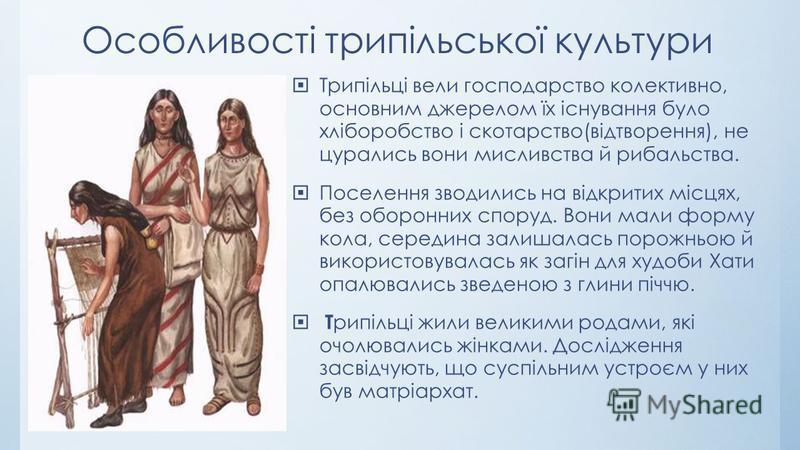 Особливості трипільської культури Трипільці вели господарство колективно, основним джерелом їх існування було хліборобство і скотарство(відтворення), не цурались вони мисливства й рибальства. Поселення зводились на відкритих місцях, без оборонних спо