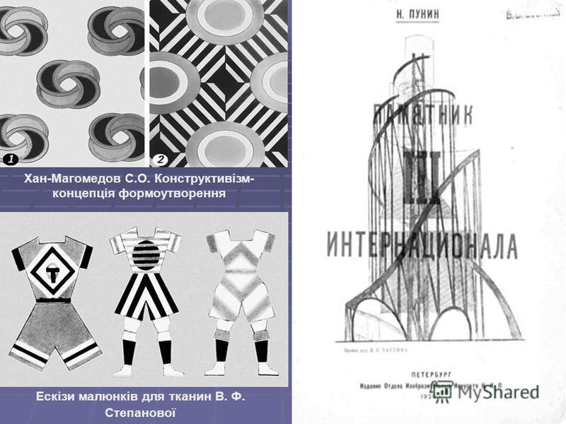 Хан-Магомедов С.О. Конструктивізм- концепція формоутворення Ескізи малюнків для тканин В. Ф. Степанової
