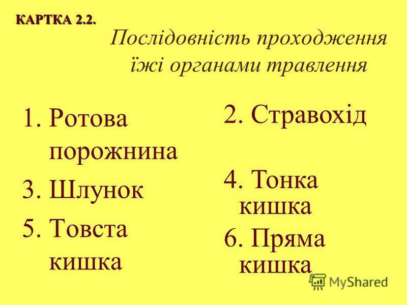Послідовність проходження їжі органами травлення 1.Ротова порожнина 3. Шлунок 5. Товста кишка КАРТКА 2.2. 2. Стравохід 4. Тонка кишка 6. Пряма кишка