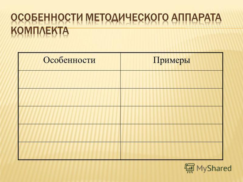 Особенности Примеры