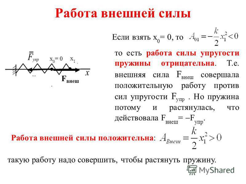 Работа внешней силы такую работу надо совершить, чтобы растянуть пружину. Если взять x 0 = 0, то то есть работа силы упругости пружины отрицательна. Т.е. внешняя сила F внеш совершала положительную работу против сил упругости F упр. Но пружина потому