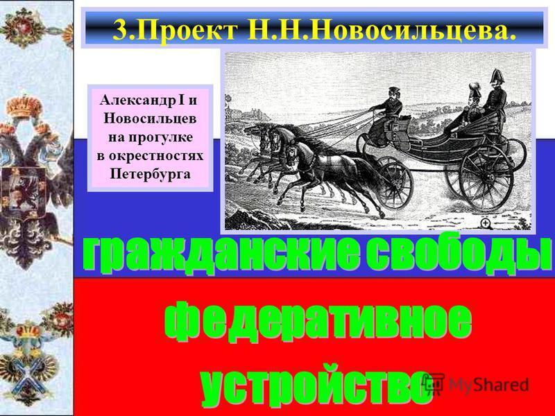 3. Проект Н.Н.Новосильцева. Александр I и Новосильцев на прогулке в окрестностях Петербурга