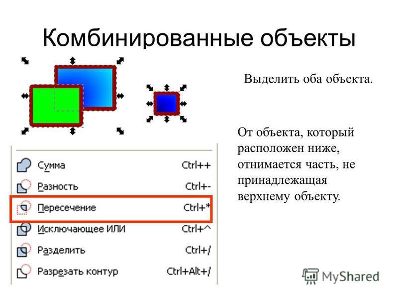 Комбинированные объекты Выделить оба объекта. От объекта, который расположен ниже, отнимается часть, не принадлежащая верхнему объекту.