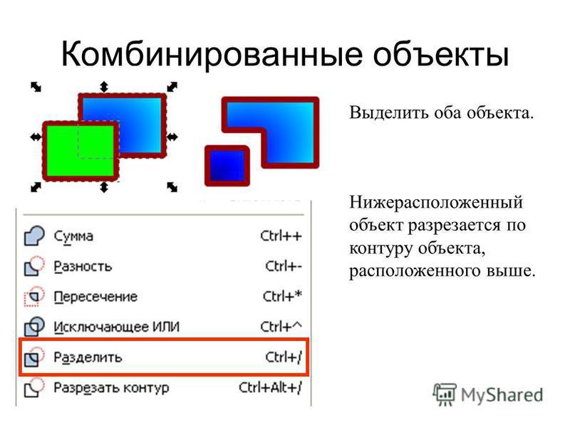 Комбинированные объекты Выделить оба объекта. Нижерасположенный объект разрезается по контуру объекта, расположенного выше.