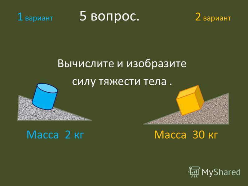 1 вариант 5 вопрос. 2 вариант Вычислите и изобразите силу тяжести тела. Масса 2 кг Масса 30 кг