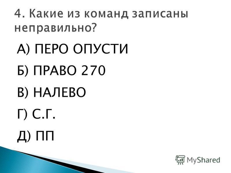 А) ПЕРО ОПУСТИ Б) ПРАВО 270 В) НАЛЕВО Г) С.Г. Д) ПП